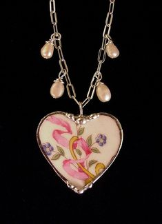 Broken China Jewelry heart pendant by dishfunctionldesigns on Etsy, $55.00