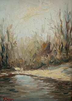 original oil painting - winter scene by Francesco Sessa
