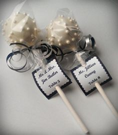 cake pops with escort tag- rehearsal dinner LOVE