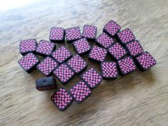 Handmade Polymer Clay Black and Pink Checkerboard Beads by MarkalinoSupplies on Etsy, $0.40 #polymer #jewelrysupplies #beads
