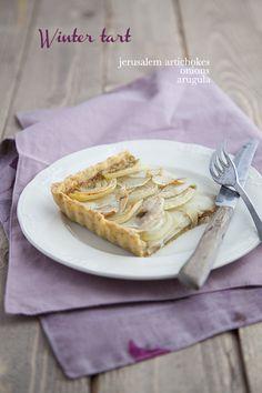 100 % Végétal: Tarte d'hiver : topinambours, oignons et crème de roquette > 8/10