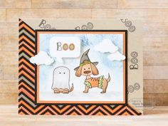 Boo Card by Shelly Mercado #Cardmaking, #Halloween, #Critters