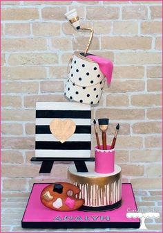 Art themed cake for Adalyn's Birthday! All details (paint brushes, cup, paint tube with shaped paint, palette, and canvas) are made from fondant. Gravity Defying Cake, Gravity Cake, Art Party Cakes, Cake Art, Art Birthday Cake, Artist Birthday, Birthday Ideas, Artist Cake, School Cake