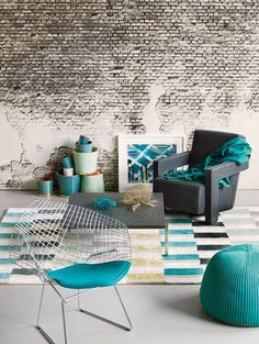 Teal, grey and white...colors, textures, and an exposed brick wall...WIN!