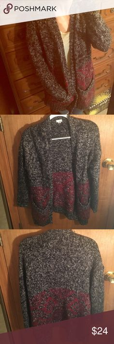 Chunky aztec grey and maroon cardigan Warm and cozy chunky grey and maroon cardigan, perfect to snuggle in for 1 during the cold weather Garage Sweaters Cardigans