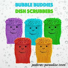 Free crochet pattern for bubble buddies dish scrubbies, dishcloth, dustcloth, cleaning, by Pattern Paradise Bubble Buddy, Crochet Scrubbies, Knitted Dishcloths, Crochet Towel, Cotton Crochet, Crochet Shawl, All Free Crochet, Unique Crochet, Easy Crochet