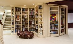 Curved And Hidden Bookcases In The Basement Secret Rooms Bookcase Door Bookshelves Rustic