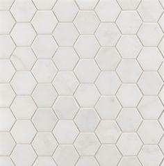 "ANN SACKS Eastern White 2"" hexagon marble mosaic in honed finish - Really basic, but beautiful"