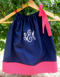 Monogrammed Pillowcase Dress in Navy and Red by DesignsByThem, $26.95