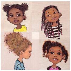 Afro girlies Notice the sweet little halo of curlies or fuzzies? Black Girl Art, Black Women Art, Black Girls Rock, Black Art, Art Girl, Black Child, Natural Hair Art, Pelo Natural, Natural Hair Styles