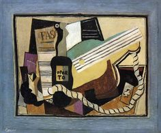 Partition, bottle of port, guitar, playing cards, 1917 - Pablo Picasso - WikiArt.org