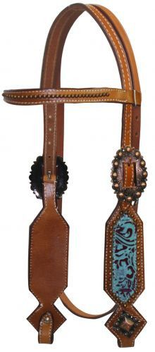 Showman ® Double Stitched Leather Headstall with Filigree Print Overlay.