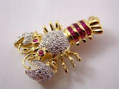 14k Gold Diamond and Ruby Lobster Brooch Pin