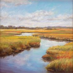 "paintings of marshes | for her painting, ""Marsh River Reflections"""