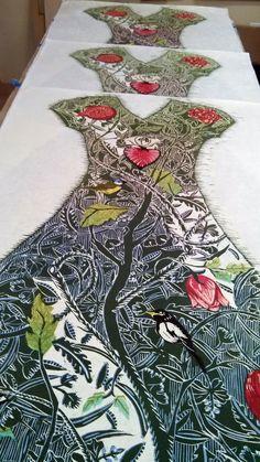 Ouida Touchon Illustrations, Illustration Art, Linocut Prints, Art Prints, Motif Floral, Tampons, Silk Painting, Woodblock Print, Textile Art