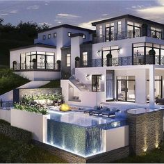 40 Stunning Mansions Luxury Exterior Design Ideas So far, we have sh. - 40 Stunning Mansions Luxury Exterior Design Ideas So far, we have shown you exterior de - Dream Home Design, Modern House Design, Modern Glass House, Glass House Design, Home Bedroom Design, Modern Style Homes, My Dream Home, Dream Mansion, White Mansion