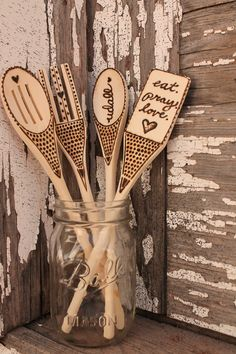 Custom wood burned Wood Utensils Set of Four by elizabethudall, $20.00
