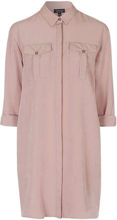 Cupro shirt dress by Topshop Pink Dress, New Dress, Long Shirt Dress, Next Clothes, Brown Dress, Pink Fashion, Pale Pink, Pink Brown, Dusty Pink