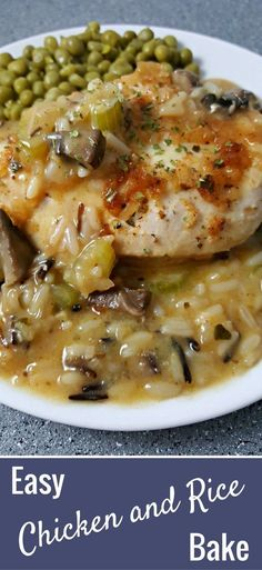 This Chicken and Rice Bake recipe has juicy boneless chicken paired with celery, mushrooms, and rice covered in a savory creamy sauce. It's super easy and delicious, and also looks and smells amazing! This recipe makes a great dinner or lunch for two. Try it for an impressive date night dish.
