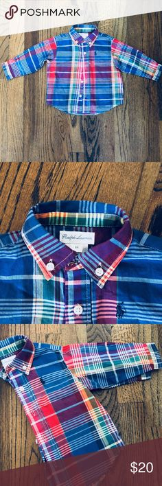 Baby boy Polo Shirt!!! Multicolored Polo shirt perfect for your baby can be worn with jeans or slacks perfect for the holidays!!! Polo by Ralph Lauren Shirts & Tops Polos
