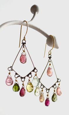 watermelon tourmaline earrings