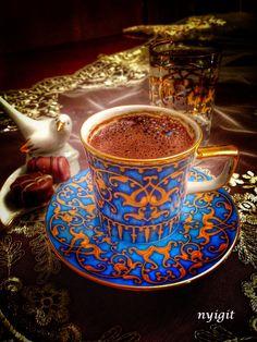 turkish coffee by Nagish on Coffee Is Life, I Love Coffee, Best Coffee, Coffee Break, My Coffee, Morning Coffee, Coffee Travel, Turkish Coffee Cups, Arabic Coffee