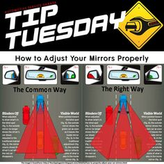 Car Care Tip: How to Set Mirrors to Eliminate Blind Spots - it's likely your side-view mirrors are too narrowly drawn in to your car. Some time might be required to become confident in the new mirror orientation. Safe Driving Tips, Driving Rules, Driving Test, Car Care Tips, Blinde, Car Buying Tips, Car Hacks, Car Shop, Car Cleaning