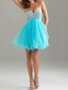 Blue Strapless Rhinestone Chiffon A-line Dress | Choies