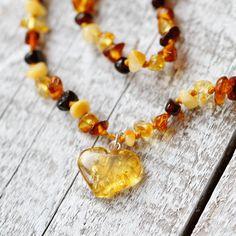 Boho baby Boho baby shower Heart Baltic Amber necklace