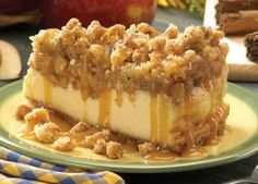 Apple Crisp Cheesecake ~ a creamy delicious cheesecake topped with a crunchy cinnamon heaven
