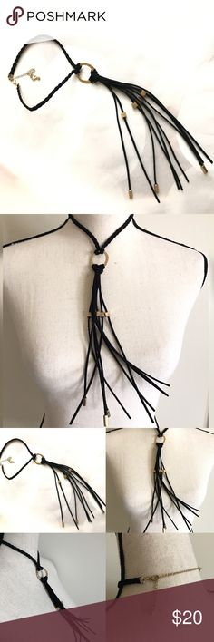 "Black beaded Tassel choker Gorgeous tassel choker choker is detailed with a braid attached with 7"" tassel brand new wot Boutique. detailed with gold plated beads faux leather like material clasp is adjustable.   BUNDLE & SAVE 15% ✨TOP RATED SELLER✨ SAME DAY OR NEXT DAY SHIPPING! ❤REASONABLE OFFERS WELCOME❤ ❌NO TRADES OR PAYPAL❌ Jewelry Necklaces"