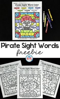 Kids LOVE pirates so why not combine this love and learning using these Pirate Color by Sight Word Activity. This will be the perfect addition to your literacy centers anytime of the year. Pirate Preschool, Pirate Crafts, Sight Word Worksheets, Sight Word Games, Sight Word Practice, Sight Word Activities, Learning Sight Words, Sight Word Coloring, Kindergarten Activities