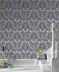 Majestic Gray Damask Wallpaper - Graham and Brown - for my living room Grey Damask Wallpaper, Silver Wallpaper, Charcoal Wallpaper, Bedroom Wallpaper, My Living Room, Living Room Decor, Dining Room, White Damask, Burke Decor