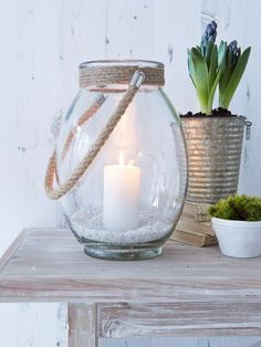 Clear Glass and Rope Hurricane, Nordic House Indoor Candle Lanterns, Home Lanterns, Metal Lanterns, Lanterns Decor, Garden Lanterns, Fairy Lights, Tea Lights, Chandeliers, Hurricane Lamps
