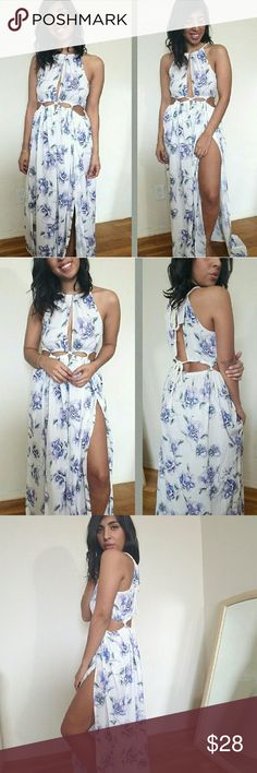  new  IVORY PURPLE LILAC CUTOUT MAXI DRESS Beautifully made Ivory purple lilac maxi dress.  Features two long side slits, one on each side. Cutouts in front and back. Rope ties. Unlined. Flowy fit to it.   Sizes available:  S M  Modeling size Small  PRICE FIRM UNLESS BUNDLED   Dresses Maxi