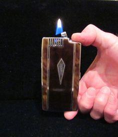 Vintage Cigarette Case Ronson Case Lighter Pocket Pal 1930s Enamel Case WORKING LIGHTER