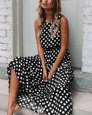 Dress Women Summer 2019 Fashion Boho Style Dot Printing Sleeveless O Neck Long Dress Female Elegant Party Maxi Dress Vestidos Summer Dresses For Women, Spring Dresses, Dress Summer, Polka Dot Long Dresses, Dress Vestidos, Dot Dress, Yellow Dress, Dress Black, Types Of Sleeves