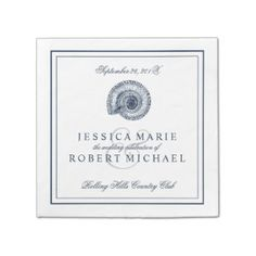 Sea Shell Beach Wedding Reception Custom Napkins Standard Cocktail Napkin