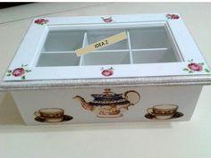 caja de te Decoupage Tutorial, Decoupage Art, Altered Cigar Boxes, Tea Box, Home Crafts, Ideas Para, Toy Chest, Decorative Boxes, Chabby Chic