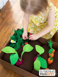 We love how this brilliant toy idea from A Beautiful Mess is not just frivolous playtime fun: It's a way to teach about where food comes from, and encourage healthy eating, too.