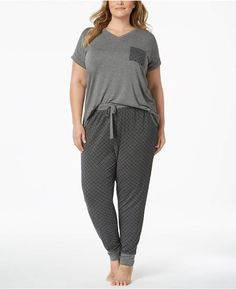 Alfani Plus Size Contrast-Pocket Pajama Set Created for Macy's - Plus Size Pajamas for women - Ideas of Plus Size Pajamas for women - Alfani Plus Size Contrast-Pocket Pajama Set Created for Macy's Loungewear Outfits, Pajama Outfits, New Outfits, Lounge Outfit, Lounge Wear, Womens Pjs, Plus Size Pajamas, Looks Plus Size, Comfy Casual