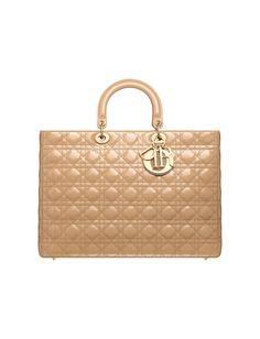 Christian Dior Beige Patent Lady Dior Bag