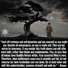 """""""Cast off pretense and self-deception and see yourself as you really are. Despite all appearances, no one is really evil. They are led astray by ignorance. If you ponder this truth always you will offer more light, rather than blame and condemnation. You, no less than all beings have Buddha Nature within. Your essential Mind is pure. Therefore, when defilements cause you to stumble and fall, let not remorse nor dark foreboding cast you down. Be of good cheer and with this understanding…"""