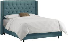 Skyline Furniture Diamond Tufted Wingback Full Bed in Linen Teal:Amazon:Home  Kitchen