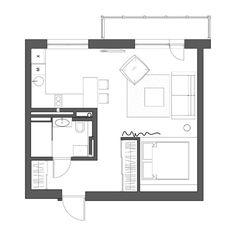 Grundriss der 1 Zimmer Wohnung