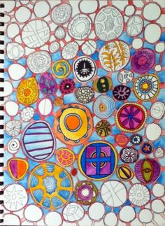 Anybody can do circles! More kid's art that can do magic in art therapy groups. The piece has a particular focus/responds to a particular question. Each circle can represent a person, a thought, a feeling, a situation etc.. Lines spaces between can indicate the relationships and connections btwn these elements . . .