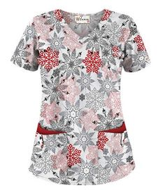 UA Fancy Snowflake White Print Scrub Top - Style # H638FSN #uniformadvantage #uascrubs #holidayscrubs Scrubs Uniform, Scrub Life, Medical Scrubs, Scrub Tops, Work Attire, Work Clothes, Erika, Work Wear, Calm