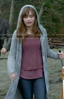 Emma's purple cable knit sweater and hooded cardigan on Bates Motel.  Outfit Details: http://wornontv.net/48913/ #BatesMotel