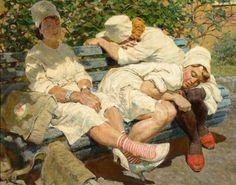 Lev Kotlyarov. Nurses. Taking rest after duty. 1956