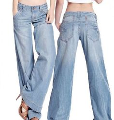 Womens Sexy Demin Jeans Bell Bottom Wide Leg Loose Thin Pants Trousers Plus Size | eBay